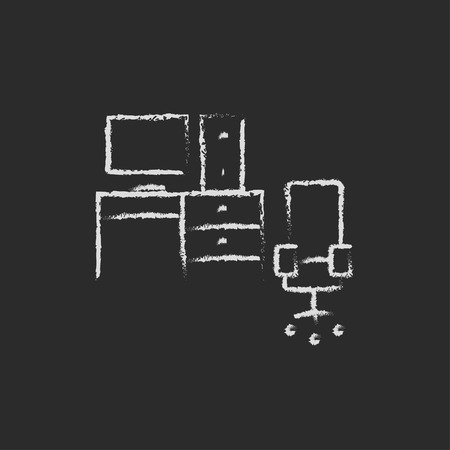 hand work: Computer set with table and chair hand drawn in chalk on a blackboard vector white icon isolated on a black background. Illustration