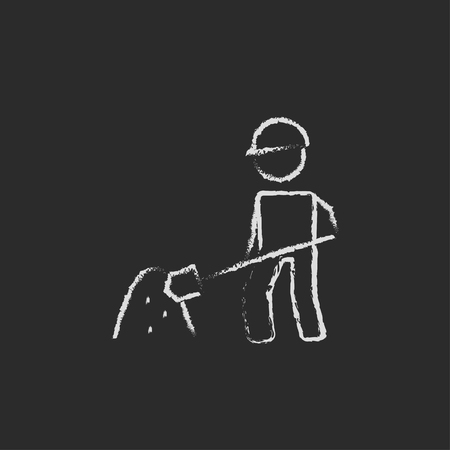 Man with shovel and sand hand drawn in chalk on a blackboard vector white icon isolated on a black background.