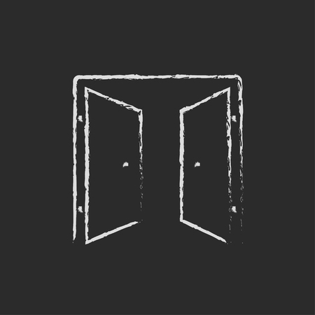 double entry: Open doors hand drawn in chalk on a blackboard vector white icon isolated on a black background. Illustration