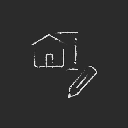 building planners: House design hand drawn in chalk on a blackboard vector white icon isolated on a black background. Illustration