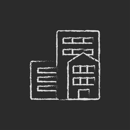 Residential buildings hand drawn in chalk on a blackboard vector white icon isolated on a black background. Illustration