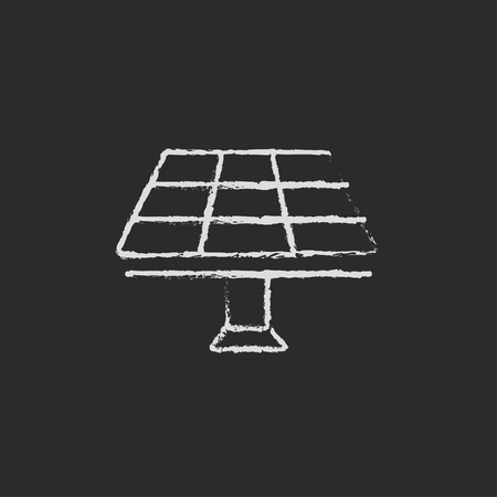 white chalk: Solar panel hand drawn in chalk on a blackboard vector white icon isolated on a black background. Stock Photo