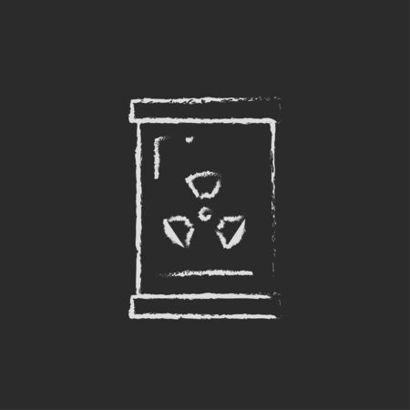 radiation sign: Barrel with ionizing radiation sign hand drawn in chalk on a blackboard vector white icon isolated on a black background. Stock Photo