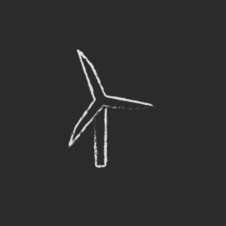 windy energy: Windmill hand drawn in chalk on a blackboard vector white icon isolated on a black background.
