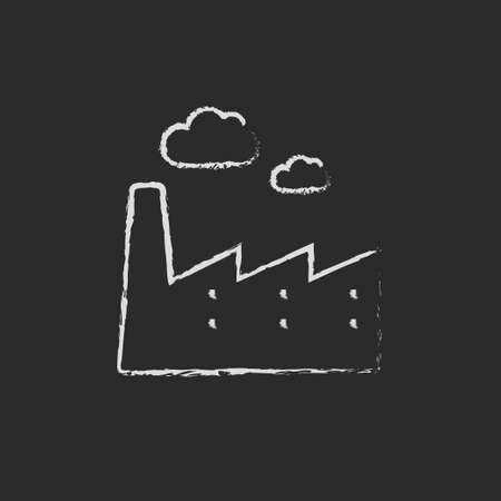 power station: Factory hand drawn in chalk on a blackboard vector white icon isolated on a black background.