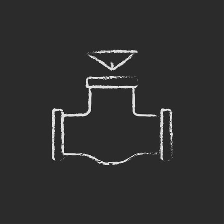 conduit: Gas pipe valve hand drawn in chalk on a blackboard vector white icon isolated on a black background.