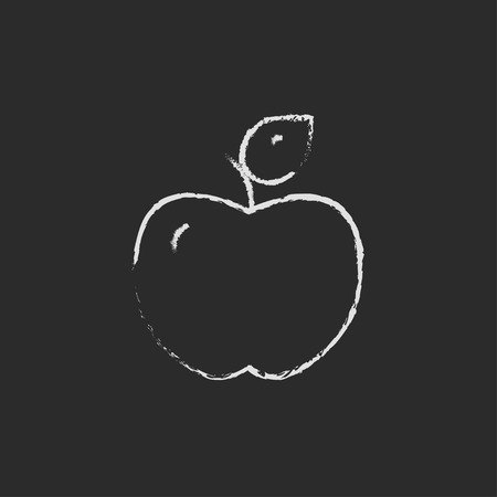 ripened: Apple hand drawn in chalk on a blackboard vector white icon isolated on a black background. Stock Photo