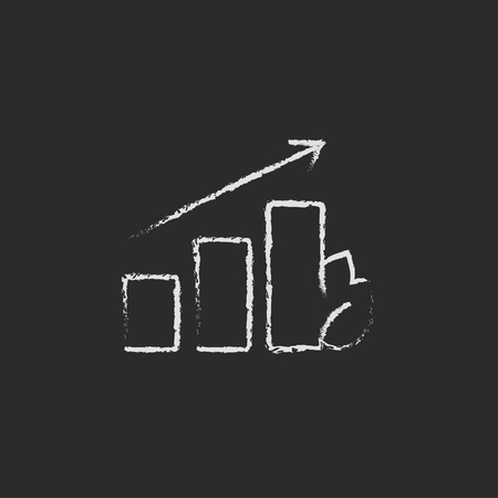 onward: Bar graph with leaf hand drawn in chalk on a blackboard vector white icon isolated on a black background. Stock Photo