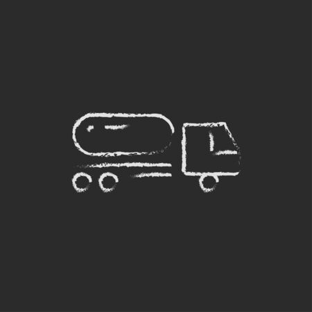 Fuel truck hand drawn in chalk on a blackboard vector white icon isolated on a black background. Imagens