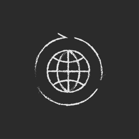 preservation: Globe with arrows hand drawn in chalk on a blackboard vector white icon isolated on a black background.