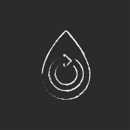 Water drop with circular arrow hand drawn in chalk on a blackboard vector white icon isolated on a black background.