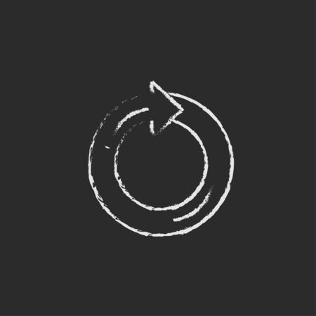 Circular arrow hand drawn in chalk on a blackboard vector white icon isolated on a black background.