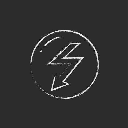 downward: Lightning arrow downward hand drawn in chalk on a blackboard vector white icon isolated on a black background. Stock Photo