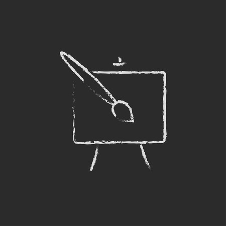 white chalk: Easel and paint brush hand drawn in chalk on a blackboard vector white icon isolated on a black background.