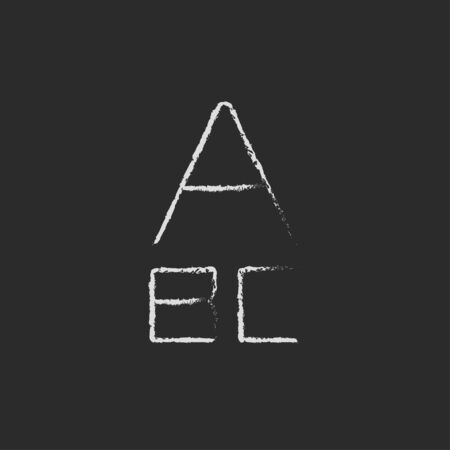 lexicon: Letters hand drawn in chalk on a blackboard vector white icon isolated on a black background. Stock Photo
