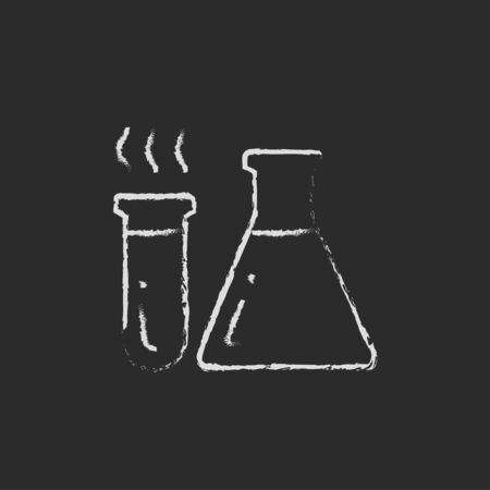 hypothesis: Llaboratory equipment hand drawn in chalk on a blackboard vector white icon isolated on a black background. Stock Photo