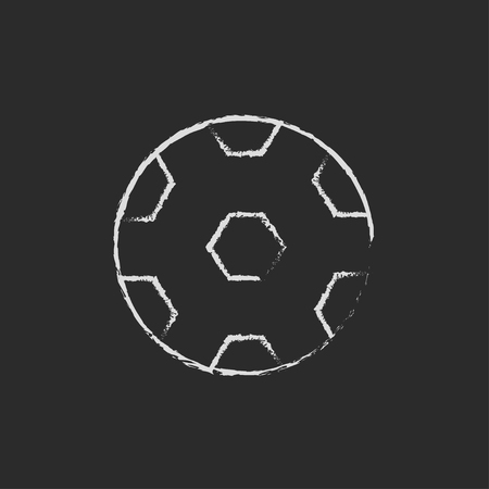 Soccer ball hand drawn in chalk on a blackboard vector white icon isolated on a black background. Stock Photo