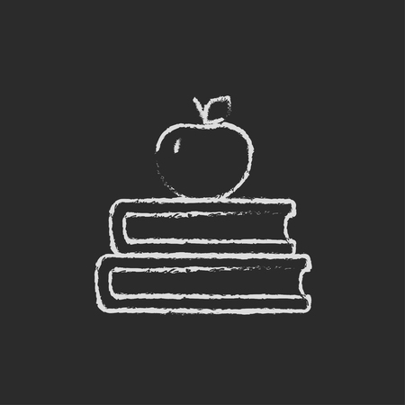 classbook: Books and apple on the top hand drawn in chalk on a blackboard vector white icon isolated on a black background.