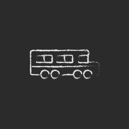 schoolbus: School bus hand drawn in chalk on a blackboard vector white icon isolated on a black background.