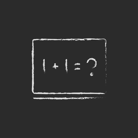 mathematical operation: Maths example on the blackboard hand drawn in chalk on a blackboard vector white icon isolated on a black background. Stock Photo