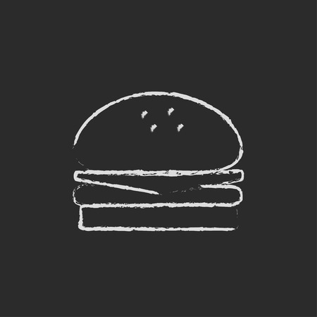 food: Hamburger hand drawn in chalk on a blackboard vector white icon isolated on a black background. Stock Photo