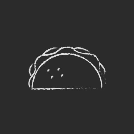 Taco hand drawn in chalk on a blackboard vector white icon isolated on a black background. Banco de Imagens
