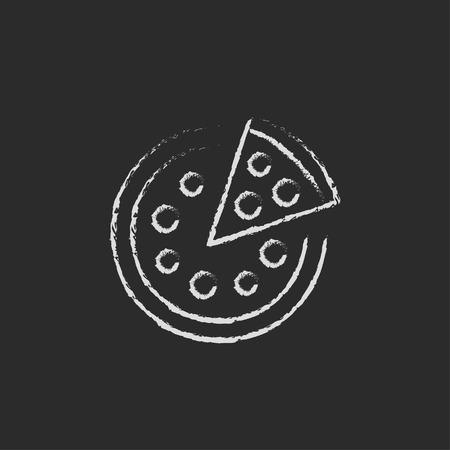 黒の背景に分離された黒板白ベクトル アイコンにチョークで描かれたスライス手ピザ。 写真素材