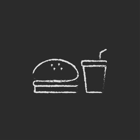 junky: Fast food meal hand drawn in chalk on a blackboard vector white icon isolated on a black background.