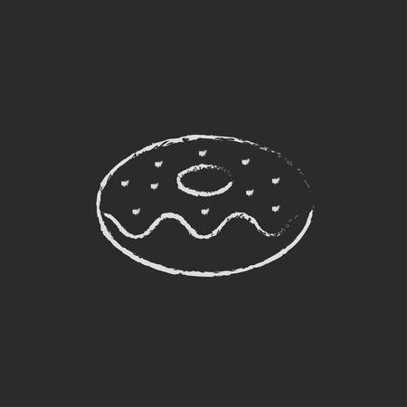ドーナツの手が黒い背景に分離された黒板白ベクトル アイコンにチョークで描かれました。