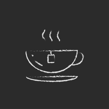 hot cup: Hot tea in a cup hand drawn in chalk on a blackboard vector white icon isolated on a black background.