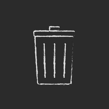 Trash can hand drawn in chalk on a blackboard vector white icon isolated on a black background. Vettoriali