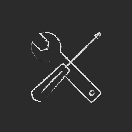 Screwdriver and wrench tools hand drawn in chalk on a blackboard vector white icon isolated on a black background.