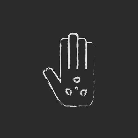 ionizing: Ionizing radiation sign on a palm hand drawn in chalk on a blackboard vector white icon isolated on a black background.