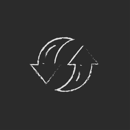 circling: Two circular arrows hand drawn in chalk on a blackboard vector white icon isolated on a black background. Illustration