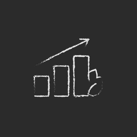 onward: Bar graph with leaf hand drawn in chalk on a blackboard vector white icon isolated on a black background. Illustration