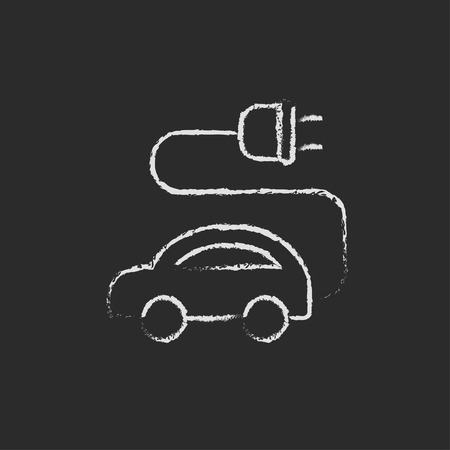 plugin: Electric car hand drawn in chalk on a blackboard vector white icon isolated on a black background. Illustration