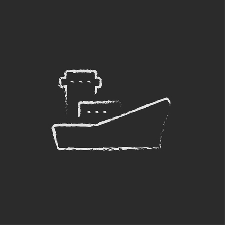 Cargo container ship hand drawn in chalk on a blackboard vector white icon isolated on a black background.