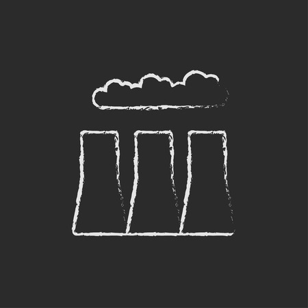 Fabrik Rohre Hand in Kreide auf einer Tafel Vektor-Blatt-Symbol isoliert auf einem schwarzen Hintergrund gezeichnet. Standard-Bild - 45319554