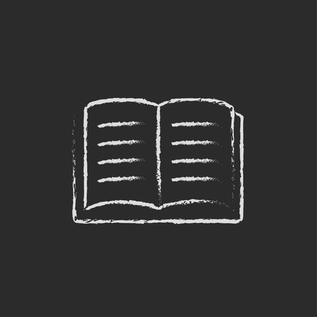 Open book hand drawn in chalk on a blackboard vector white icon isolated on a black background.