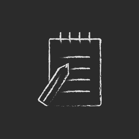writing pad: Writing pad and pen hand drawn in chalk on a blackboard vector white icon isolated on a black background.