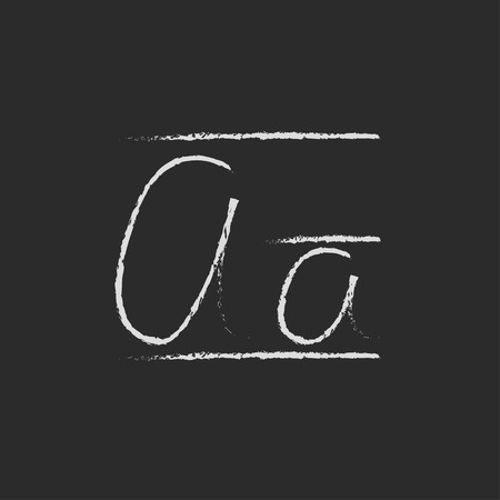 cursive: Cursive letter a hand drawn in chalk on a blackboard vector white icon isolated on a black background.