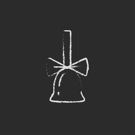 ding dong: School bell with ribbon hand drawn in chalk on a blackboard vector white icon isolated on a black background.