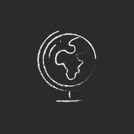 hand stand: World globe on stand hand drawn in chalk on a blackboard vector white icon isolated on a black background.