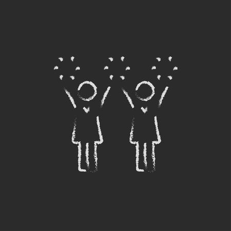 Cheerleaders hand drawn in chalk on a blackboard vector white icon isolated on a black background.