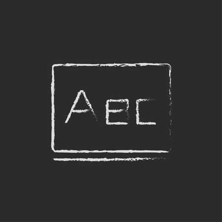 Letters abc on the blackboard hand drawn in chalk on a blackboard vector white icon isolated on a black background. Çizim