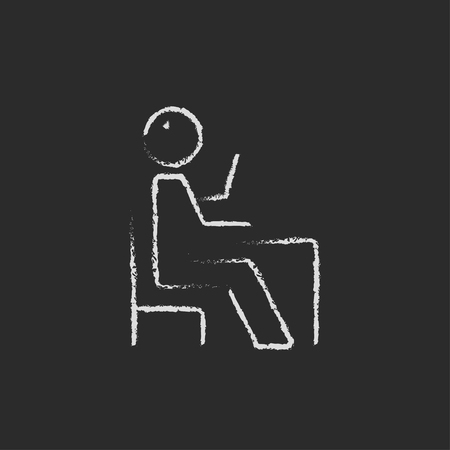 raised: Sitting student with raised arm hand drawn in chalk on a blackboard vector white icon isolated on a black background.