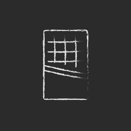 Opened bar of chocolate hand drawn in chalk on a blackboard vector white icon isolated on a black background. Illustration