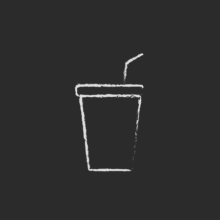 polystyrene: Disposable cup with lid and drinking straw hand drawn in chalk on a blackboard vector white icon isolated on a black background.