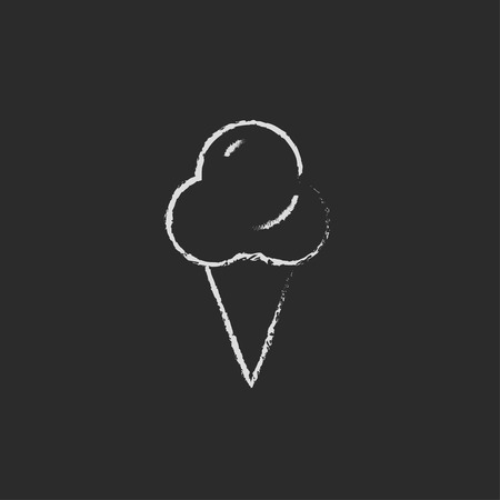 Ice cream hand drawn in chalk on a blackboard vector white icon isolated on a black background.