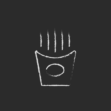 French fries hand drawn in chalk on a blackboard vector white icon isolated on a black background.